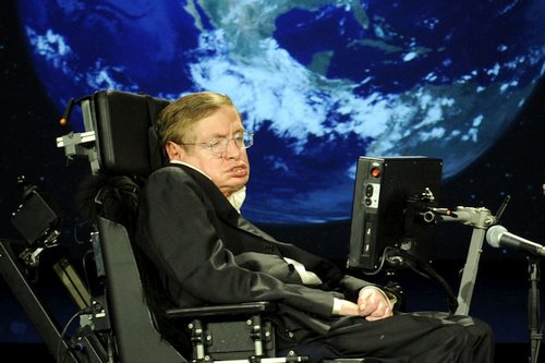 Stephen Hawking before giving a lecture in the NASA in 2008