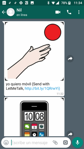 captura chat whatsapp pictogramas recibidos