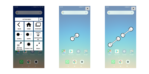 3 screenshots depicting the ease apps pinch sequence